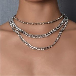 New Silver Bead Chain Multilevel Female Necklace